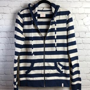 Quiksilver Navy and white striped full zip hoodie
